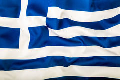 Flag of Greece waving in the wind. Royalty Free Stock Image