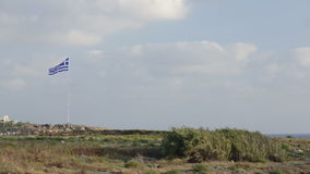 Flag of Greece waving on wind stock video footage