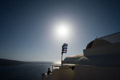 Flag of Greece. Wavy Greece flag at Sunset Royalty Free Stock Image