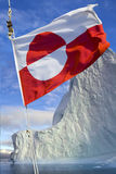 Flag of Greenland. Adopted 21st June 1985. The  is the only national flag of a Nordic country or territory without a Nordic Cross. Photographed in Stock Photography