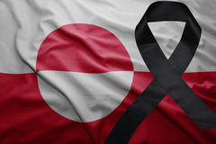 Flag of greenland with black mourning ribbon Royalty Free Stock Images