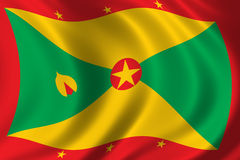 Flag of Grenada. Waving in the wind Stock Images
