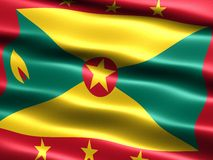 Flag of Grenada. Computer generated illustration with silky appearance and waves Royalty Free Stock Photography