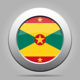Flag of Grenada. Shiny metal gray round button. Stock Images