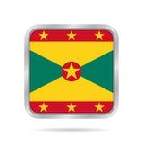 Flag of Grenada, shiny metallic gray square button Stock Photography