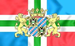 Flag of Groningen Province, Netherlands. 3D Flag of Groningen Province, Netherlands. Close Up Stock Photo