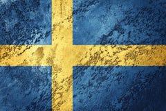 flag grunge sweden Sverige flagga med grungetextur Arkivbild