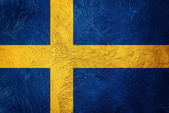 flag grunge sweden Sverige flagga med grungetextur royaltyfri foto