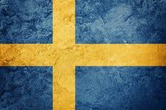 flag grunge sweden Sverige flagga med grungetextur Royaltyfria Bilder