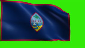 Flag of Guam, GU, Hagatna, The United States of America, USA state - LOOP. Beautiful 3d flag animation on green/blue screen in 4k format - seamless looped stock video