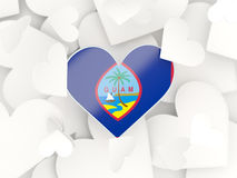 Flag of guam, heart shaped stickers. Background. 3D illustration Royalty Free Stock Images