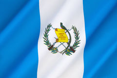 Flag of Guatemala. The two sky blue stripes represent the fact that Guatemala is a land located between two oceans, the Pacific Ocean and the Atlantic Ocean Royalty Free Stock Photo
