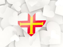 Flag of guernsey, heart shaped stickers Royalty Free Stock Image
