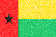Flag of Guinea-Bissau background o texture, color pencil effect. Stock Photos