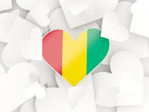 Flag of guinea, heart shaped stickers. Background. 3D illustration Royalty Free Stock Images