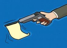 Flag in Gun Cartoon. Gun firing blank flag over blue background Royalty Free Stock Images