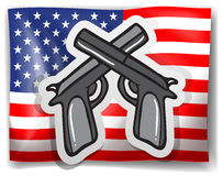 Flag and guns Royalty Free Stock Photo