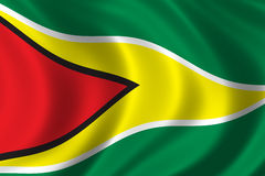 Flag of Guyana. Waving in the wind Royalty Free Stock Photography