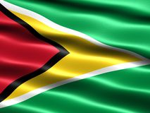 Flag of Guyana. Computer generated illustration with silky appearance and waves Royalty Free Stock Photo