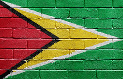 Flag of Guyana on brick wall Royalty Free Stock Image