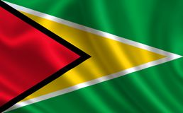 Flag of Guyana. Part of the series. Guyana flag blowing in the wind Royalty Free Stock Photos