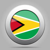 Flag of Guyana. Shiny metal gray round button. Royalty Free Stock Image