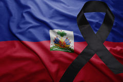 Flag of haiti with black mourning ribbon Royalty Free Stock Photos