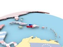 Flag of Haiti on bright globe. Haiti on political globe with embedded flags. 3D illustration Stock Images