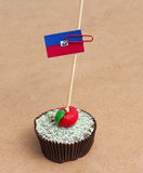 Flag of haiti on cupcake Stock Image