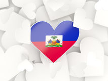 Flag of haiti, heart shaped stickers. Background. 3D illustration Royalty Free Stock Images