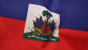 Flag of Haiti. The national flag of Haiti. The coat of arms depicts a trophy of weapons ready to defend freedom and a royal palm for independence. The palm is stock video