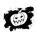 Flag Halloween grunge style on white background. Brush strokes a. Nd ink splatter. Pumpkin symbol terrible holiday Stock Photos
