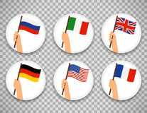 Flag in hand circle icons set. Vector illustration on transparent background. Human hands holding flags of different countries Stock Photos