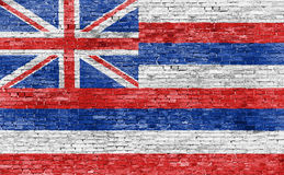 Flag of Hawaii on brick wall Stock Photography