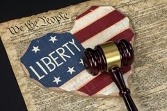 Flag heart and court gavel stock images