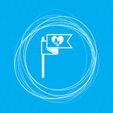 Flag, heart icon on a blue background with abstract circles around and place for your text. Illustration Stock Images