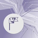 Flag, heart icon on purple abstract modern background. The lines in all directions. With room for your advertising. Illustration Stock Photos