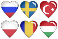 Flag Hearts. Set of hearts with national flag motive Royalty Free Stock Image