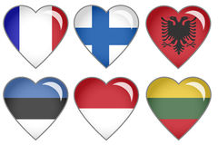 Flag Hearts. Set of hearts with national flag motive Royalty Free Stock Images