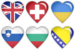 Flag Hearts. Set of hearts with national flag motive Stock Photography