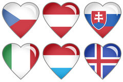 Flag Hearts. Set of hearts with national flag motive Stock Images