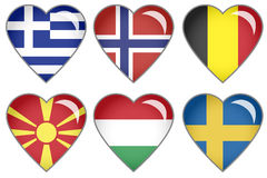Flag Hearts. Set of hearts with national flag motive Royalty Free Stock Photo