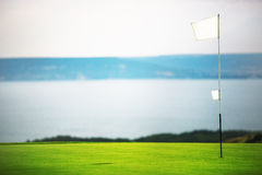 Flag, hole and golf ball on the green field. Stock Photography