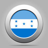 Flag of Honduras. Shiny metal gray round button. Stock Photography