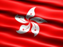 Flag of Hong Kong. Computer generated illustration with silky appearance and waves Royalty Free Stock Photos