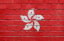 Flag of Hong Kong on brick wall Stock Images