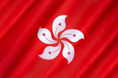 Flag of Hong Kong. Flag of the Hong Kong Special Administrative Region - The flag of Hong Kong was first officially hoisted on 1st July 1997, in the handover Royalty Free Stock Images