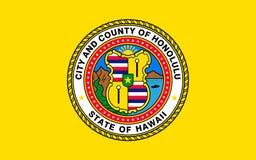 Flag of Honolulu - city on island of Oahu, Hawaiian archipelago, USA royalty free stock photography