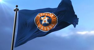 Flag of the Houston Astros, american professional baseball team - loop. Flag of the team of the Houston Astros, american professional baseball team, waving at stock video