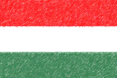 Flag of Hungary background o texture, color pencil effect. Royalty Free Stock Image